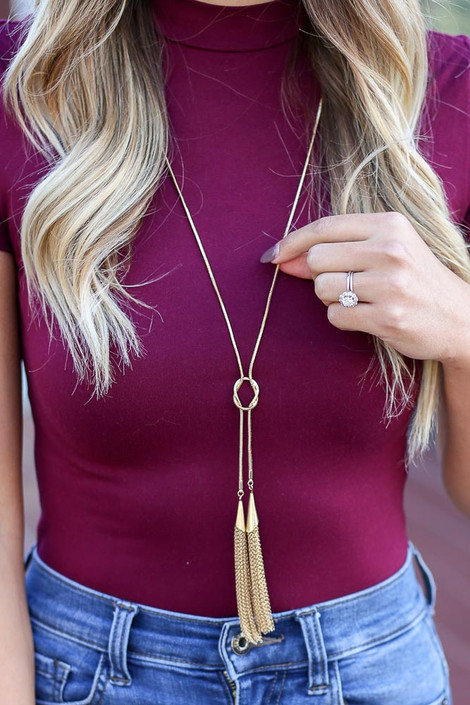 Gold - Snake Chain Tassel Necklace from Dress Up