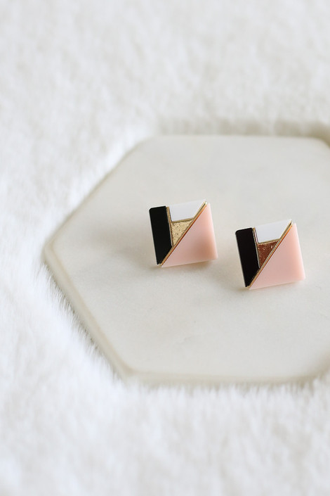 Blush Statement Stud Earrings from Dress Up - Flat Lay