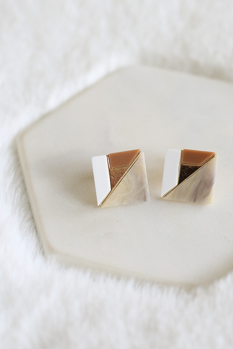 Taupe - Statement Stud Earrings from Dress Up