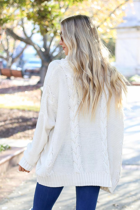 Ivory - Sienna Cable Knit Oversized Sweater on Model Back