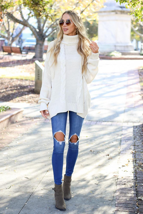 Ivory - Sienna Cable Knit Oversized Sweater on Model Front Full Body
