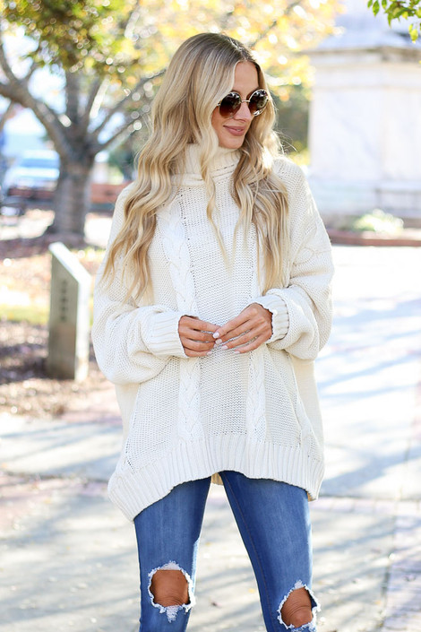 Ivory - Sienna Cable Knit Oversized Sweater on Model Front