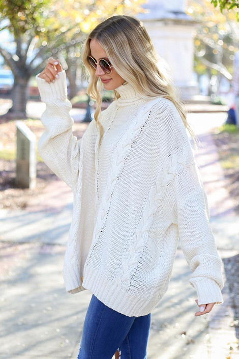 Ivory - Sienna Cable Knit Oversized Sweater on Model  Side