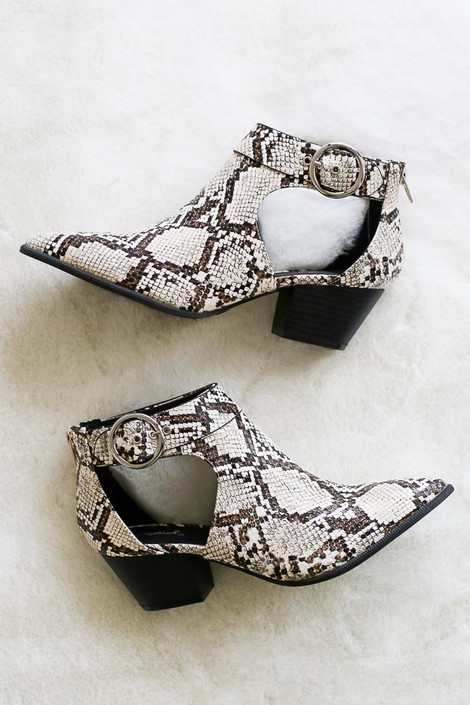 Snakeskin Cutout Booties with ankle buckle