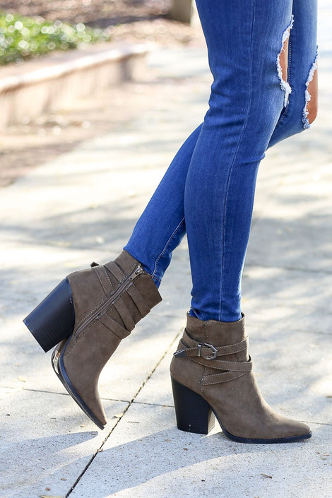 Khaki - Buckled Ankle Booties from Dress Up  in soft faux suede