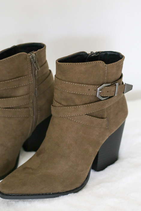 Khaki Buckled Ankle Booties from Dress Up