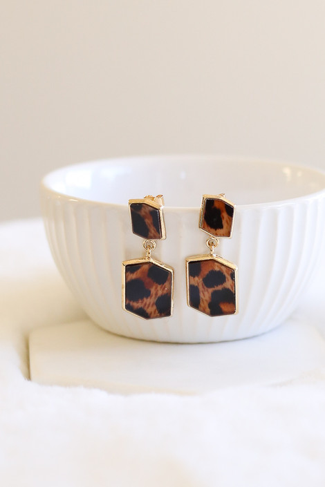 Leopard - Geometric Acrylic Earrings Product Shot