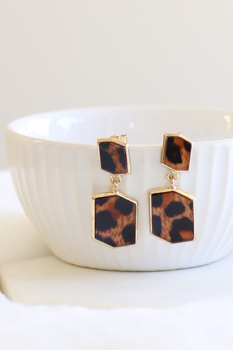 Leopard - Geometric Acrylic Earrings