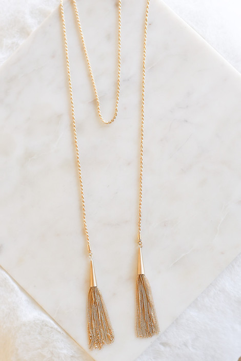 Gold - Rope and Tassel Wrap Chain Necklace