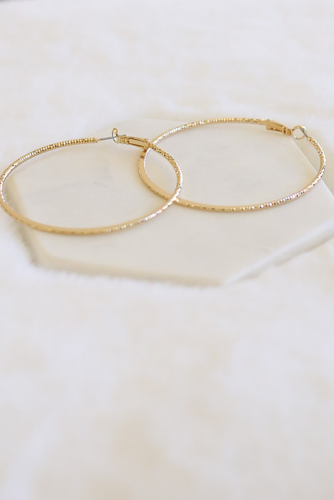 Gold - Textured Shimmer Hoops Flat Lay