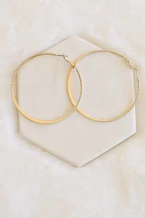 Gold - Textured Shimmer Hoops