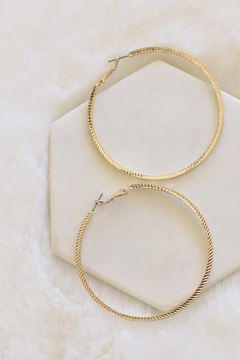 Gold - Textured Hoop Earrings Top View