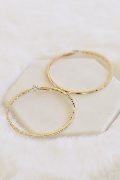Gold - Textured Hoop Earrings Flat Lay