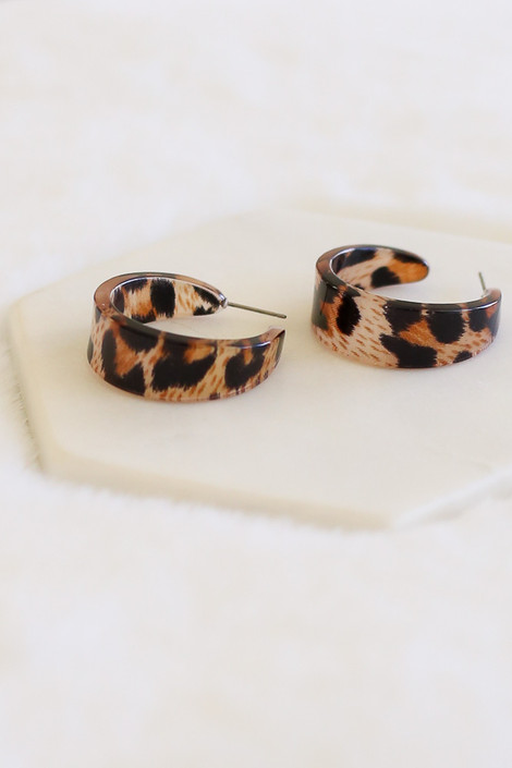 Leopard - Open Back Acrylic Hoop Earrings Flat Lay