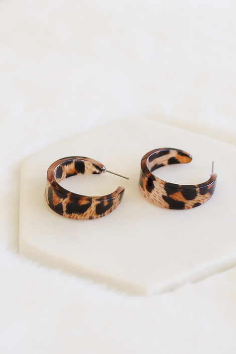 Leopard - Open Back Acrylic Hoop Earrings