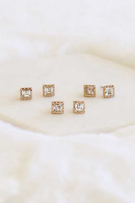 Gold - 3 Piece Stud Earring Set Flat Lay