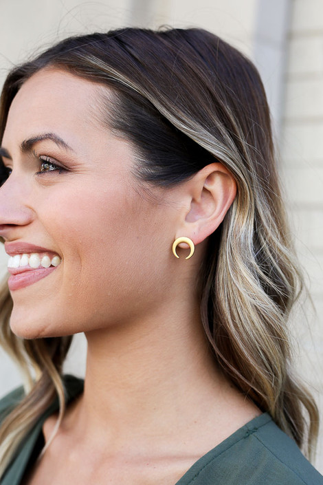Gold - Crescent Horn Stud Earrings