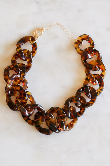 Tortoise - Acrylic Chunky Chain Link Statement Necklace Flat Lay
