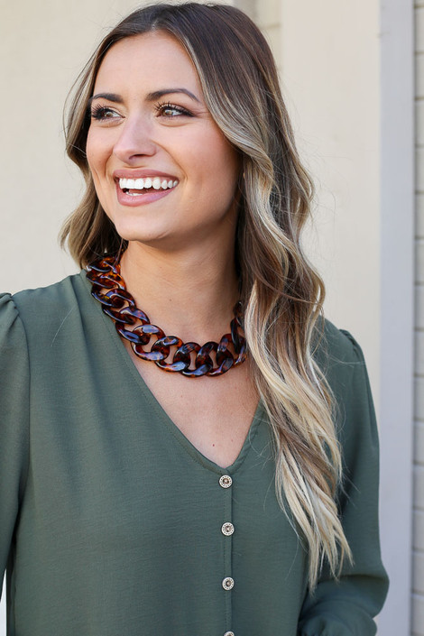 Tortoise - Acrylic Chunky Chain Link Statement Necklace