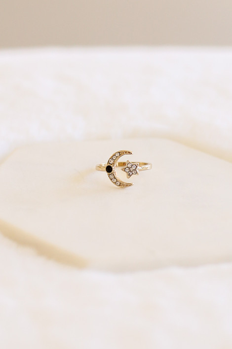 Gold - Rhinestone Moon and Star Ring