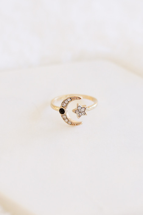 Gold - Rhinestone Moon and Star Ring Flat Lay