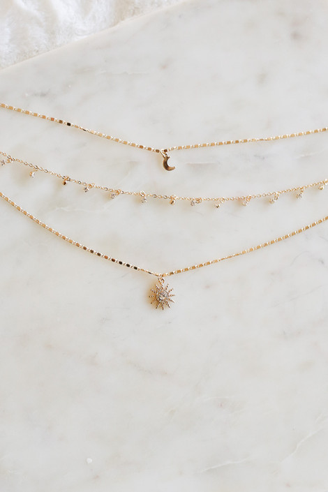 Gold - and Rhinestone Celestial Necklace