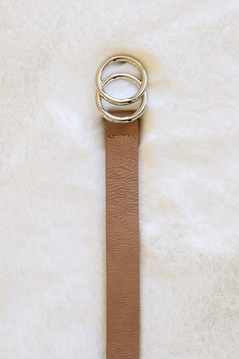 Taupe - Skinny Double O Buckle Belt