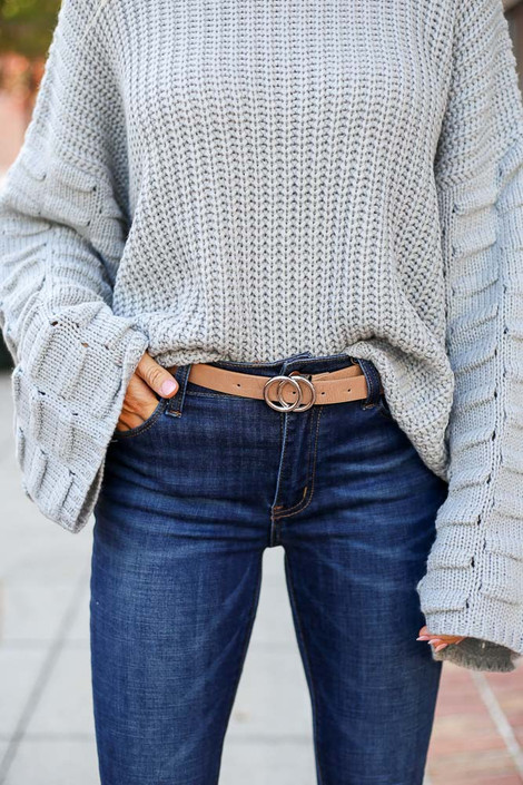 Taupe - Skinny Double O Buckle Belt on Model