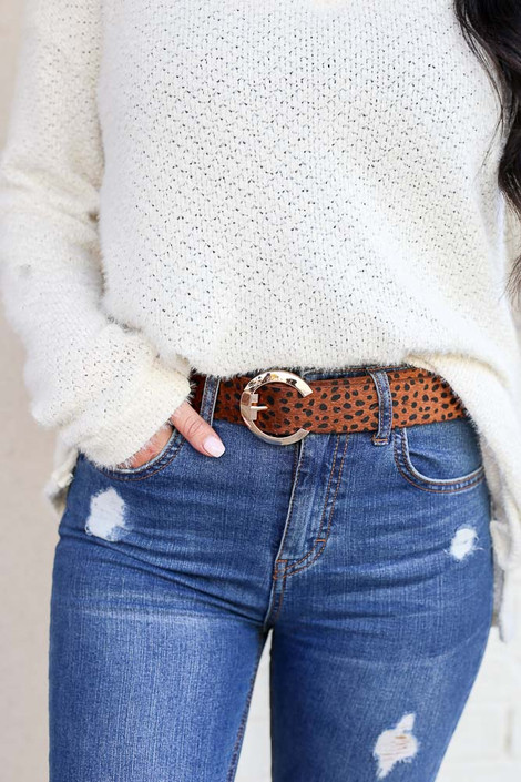 Cognac - C-Buckle Belt on Model