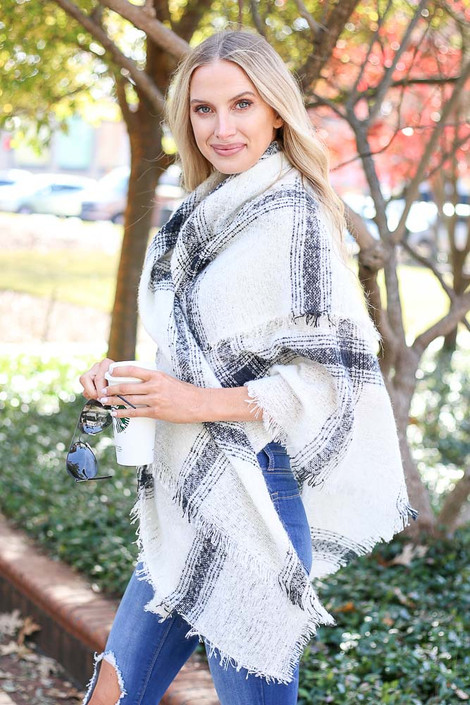 White - Oversized Plaid Knit Scarf Wrap View on Model