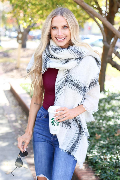 White - Oversized Plaid Knit Scarf Wrap View