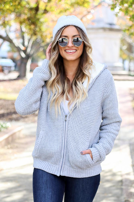Heather Grey - Waffle Knit Sherpa Lined Jacket