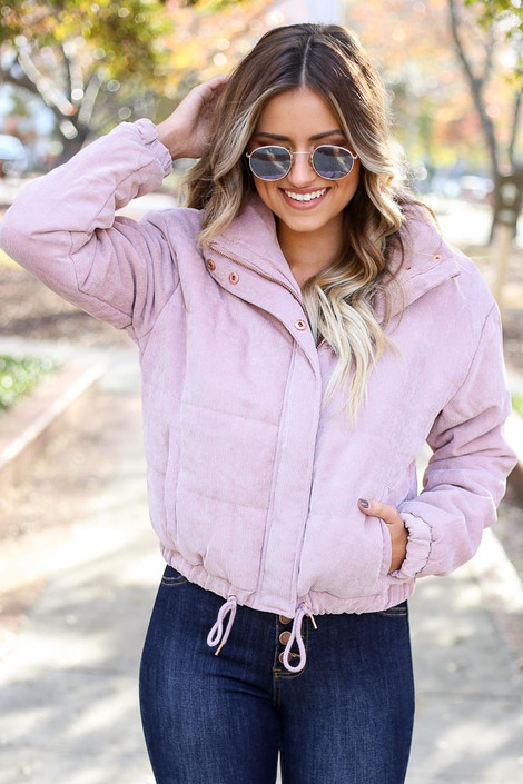 Dress Up Model wearing Mauve Corduroy Puffer Jacket Front View