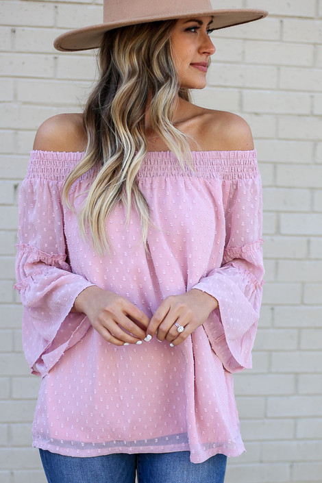 Blush - Off the Shoulder Swiss Dot Blouse