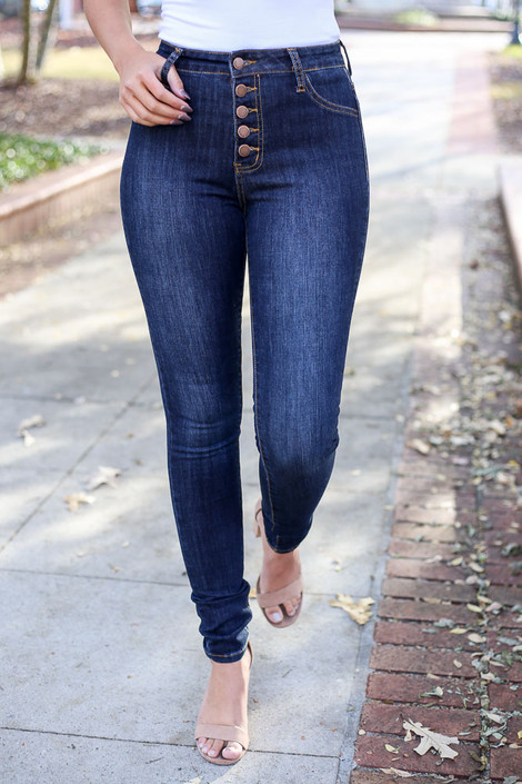 Dark Wash - Button Fly Skinny Jeans Detail View