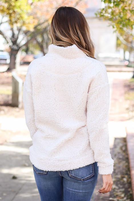 Dress Up Model wearing White Quarter Zip Sherpa Pullover Back View