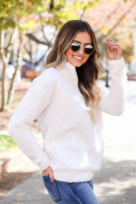 Dress Up Model wearing White Quarter Zip Sherpa Pullover Side View