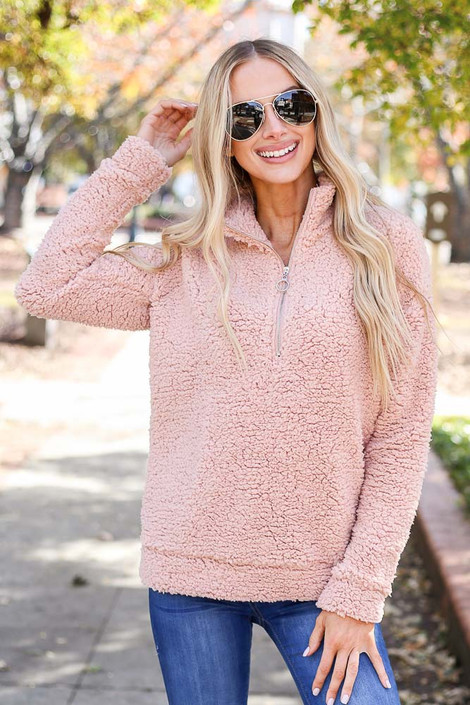 Blush - Quarter Zip Sherpa Pullover