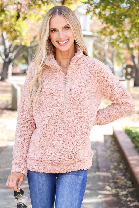 Dress Up Model wearing Blush Quarter Zip Sherpa Pullover Front View