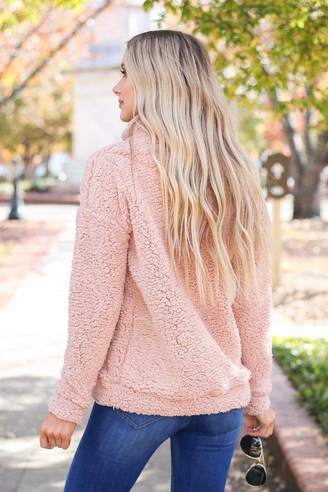 Blush - Quarter Zip Sherpa Pullover Back View