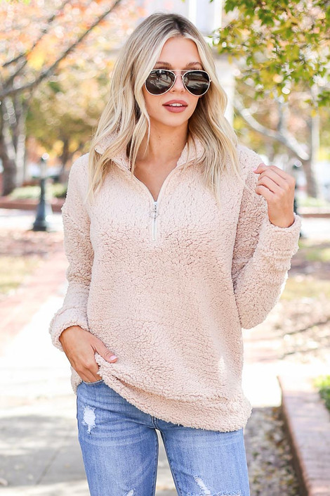Taupe - Quarter Zip Sherpa Pullover