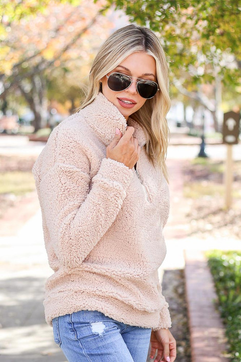 Taupe - Quarter Zip Sherpa Pullover Side View
