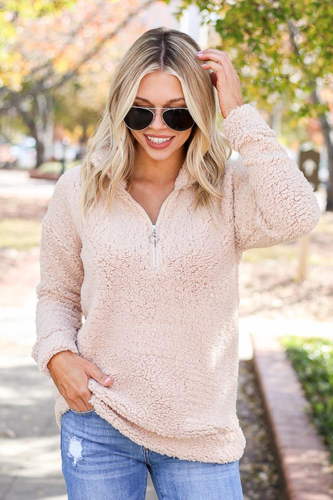 Dress Up Model wearing Taupe Quarter Zip Sherpa Pullover