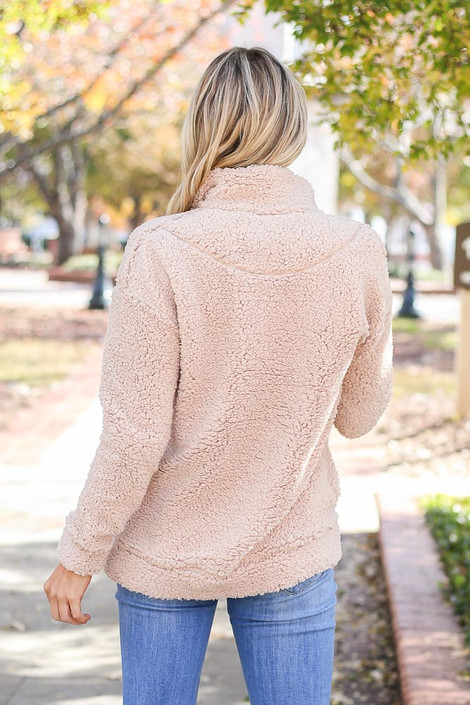 Dress Up Model wearing Taupe Quarter Zip Sherpa Pullover Back View