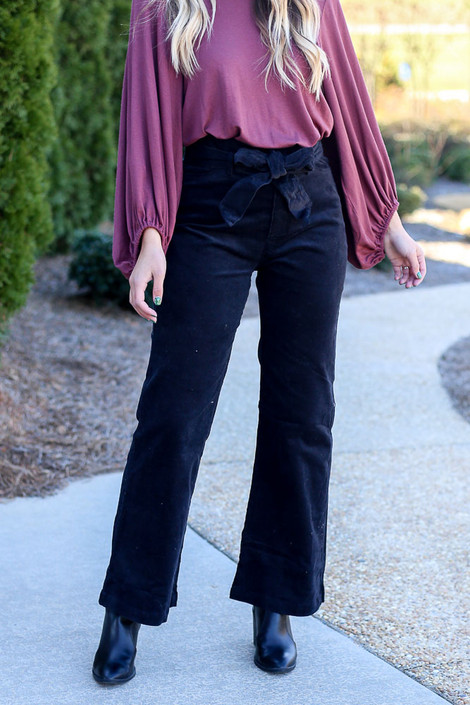 Black - Corduroy Tie Waist Pants from Dress Up