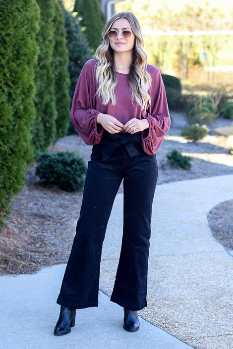 Model wearing the Black Corduroy Tie Waist Pants with blouse from Dress Up Front View