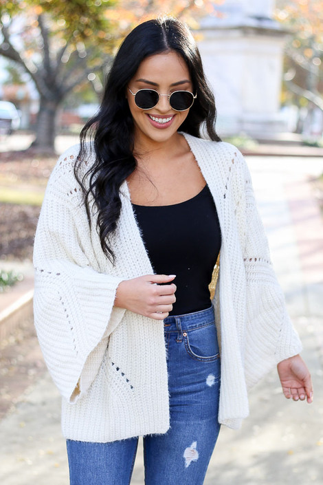 Ivory - Wide Sleeve Knit Cardigan