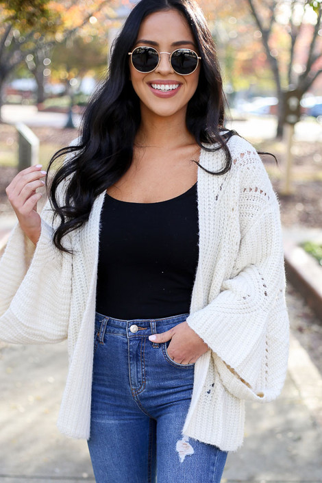 Ivory - Wide Sleeve Knit Cardigan on Model