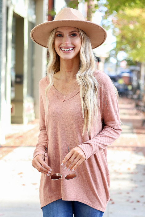 Camel - Brushed Knit Ribbed Sleeve Top Front View