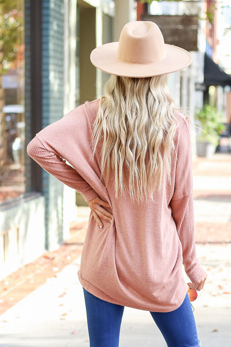 Camel - Brushed Knit Ribbed Sleeve Top Back View